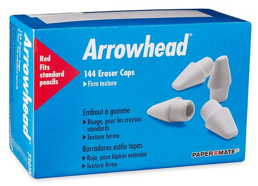 Paper Mate Arrowhead Pink Pearl Cap Erasers, 144 Count