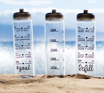 Water Tracker Bottles on Beach