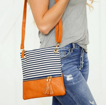 Trendy Stripes Crossbody Bag