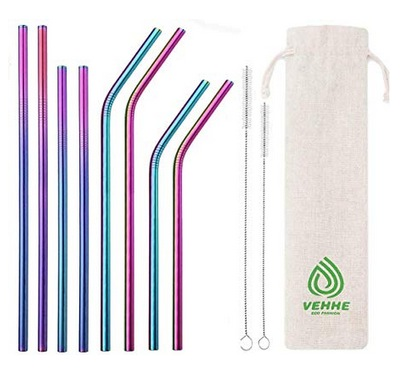 Reusable Straws 8 Set Multi Color Stainless Steel Straws
