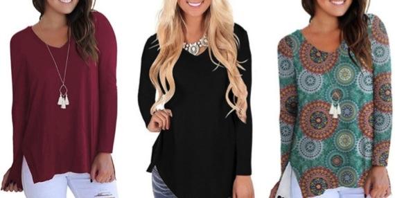 Women's High Low Sweatshirts Long Sleeve Side Split Casual Tops