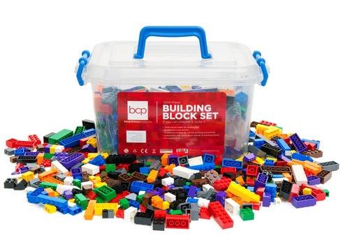 1000-Piece Kids Building Block Brick Set w/ Storage Bin