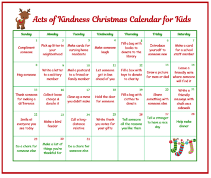 Random Acts of Kindness Christmas Calendar