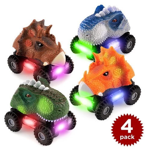T-Rex & Triceratops Dinosaur Bump & Go Toy Cars (Set of 4)