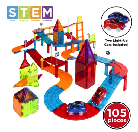 Magnetic Tiles Car Racetrack Set