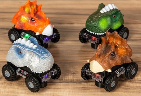 Set of 4 Kids T-Rex & Triceratops Dinosaur Bump & Go Toy Cars w/ LED Lights