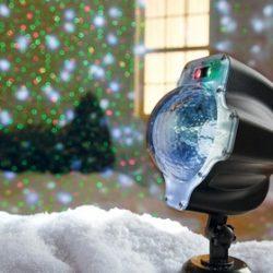 Night Stars Snowfall LED Laser Light White 1 lights Black