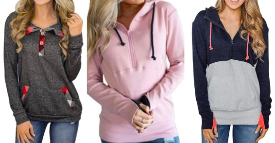 Women's Casual Long Sleeve Half Zip Pullover Hoodie Sweatshirt