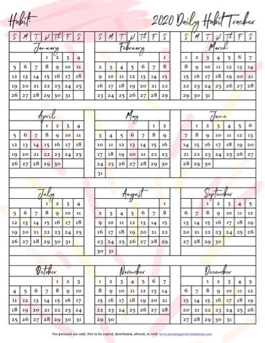 Free Printable 2020 Habit Tracker