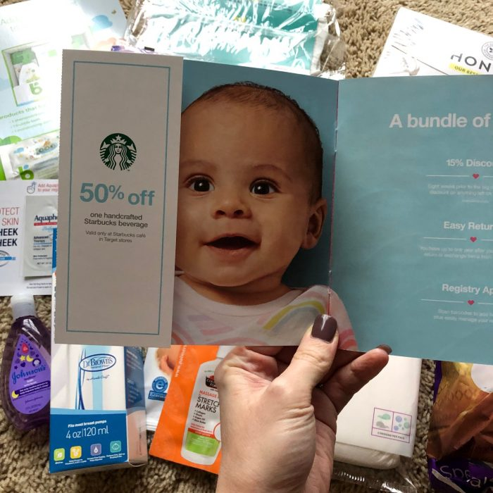 Starbucks coupon in baby gift bag at Target