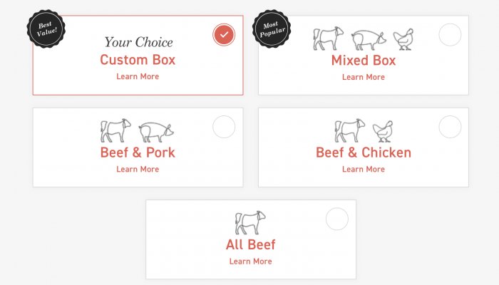 ButcherBox discount code with different box choices