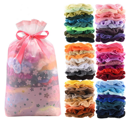 60 Pcs Premium Velvet Hair Scrunchies Hair Bands
