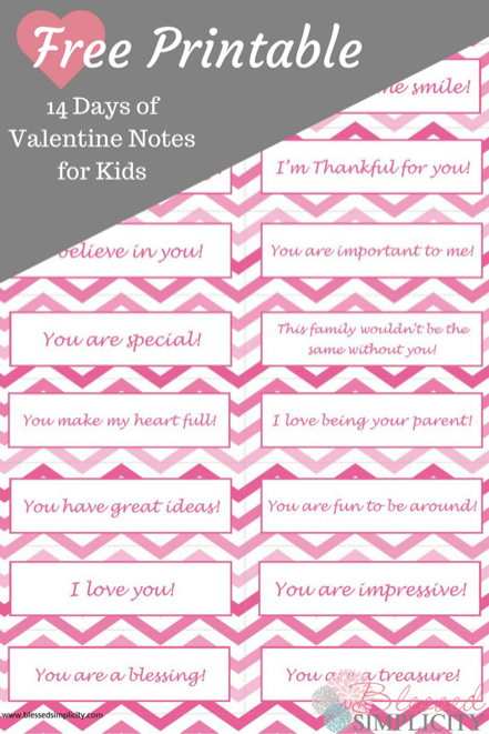 Free Valentine Notes for Kids