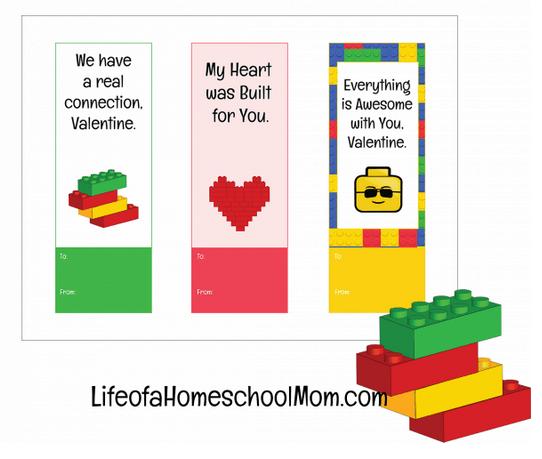 LEGO Valentine Bookmarks