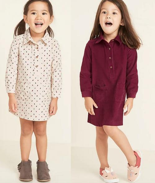 Corduroy Shirt Dress for Toddler Girls