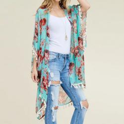 Spring Floral Tassel Kimono