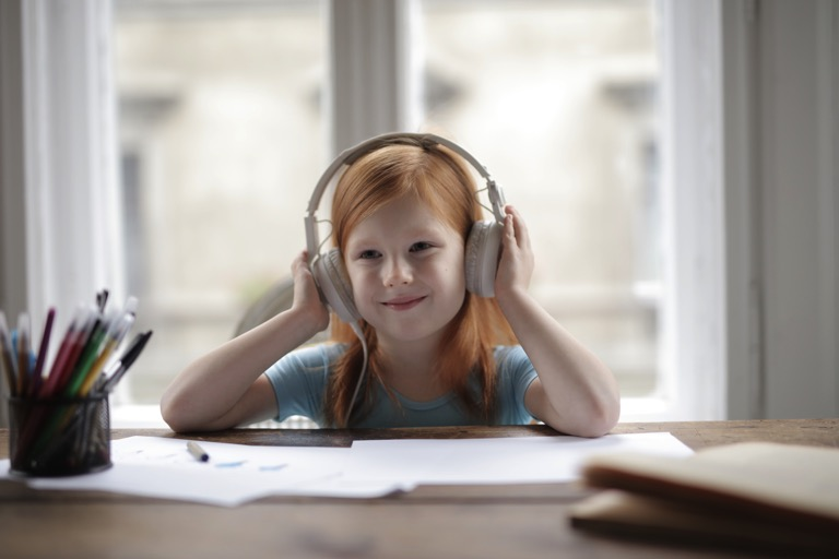 Kid Listening to Audiobook