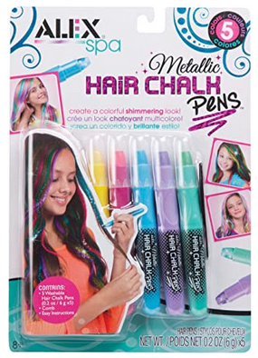 Alex Spa 5 Metallic Hair Chalk Pens Girls Fashion Activity