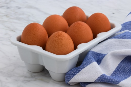 Half Dozen Eggs in Carton on Counter