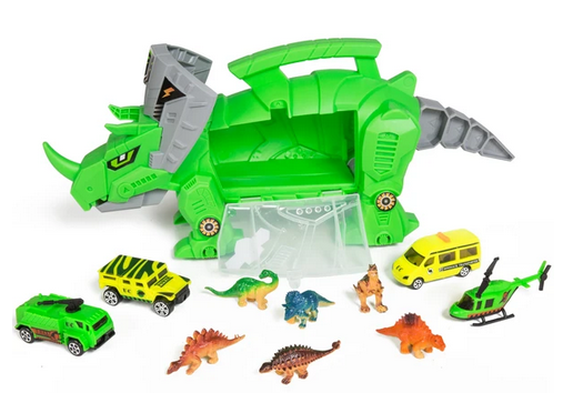 Kids Triceratops Toy Car Carrier Set w/ 4 Vehicles