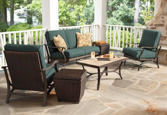 Pembrey 4-Piece All-Weather Wicker Patio Conversation Set with Peacock Java Cushions
