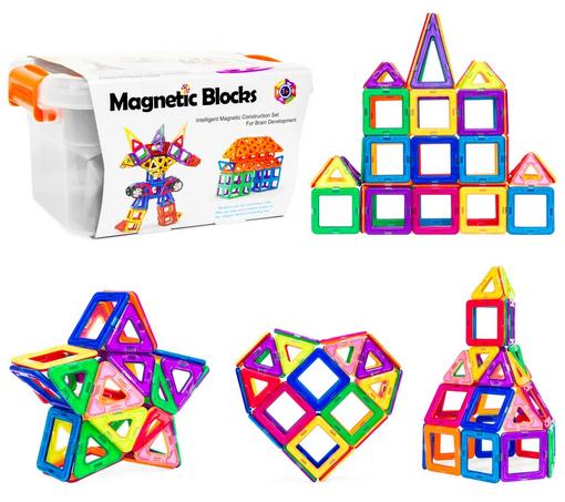 64-Piece Kids Magnetic Building Block Tiles Set w/ Carrying Box