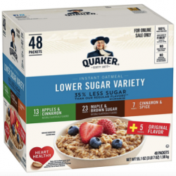 Quaker Instant Oatmeal, Lower Sugar, 4 Flavor Variety Pack