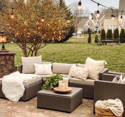 6-Piece Outdoor Wicker Patio Sectional Set