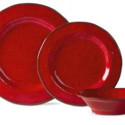 Lanai Melamine Red Dinnerware Set