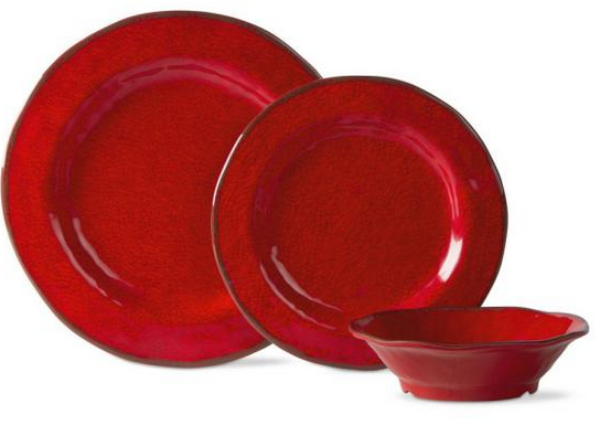 Lanai Melamine Red Dinnerware Set