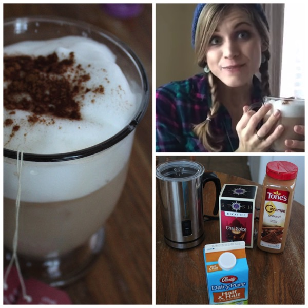 Collage of Decaf Chai Latte