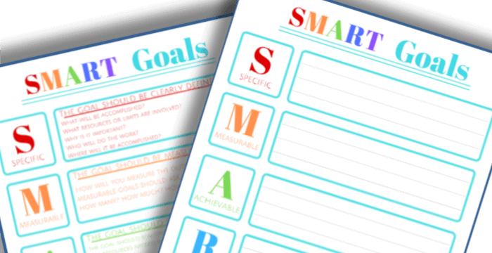 free printable SMART Goals worksheet