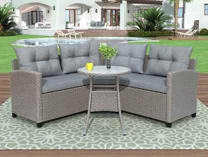 4-Piece Rattan Patio Furniture Set
