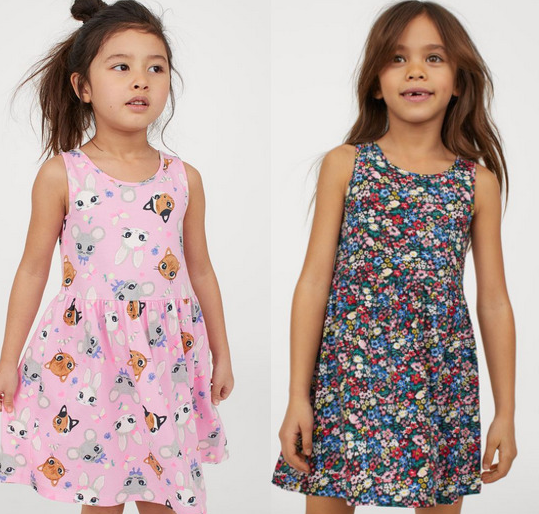 H&m Girl's Patterned Jersey Dresses Lone $3.74!