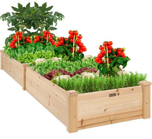 8x2ft Wooden Raised Garden Bed Planter
