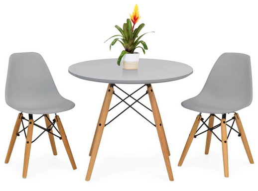 Kids Modern Dining Table Set w/ 2 Armless Chairs