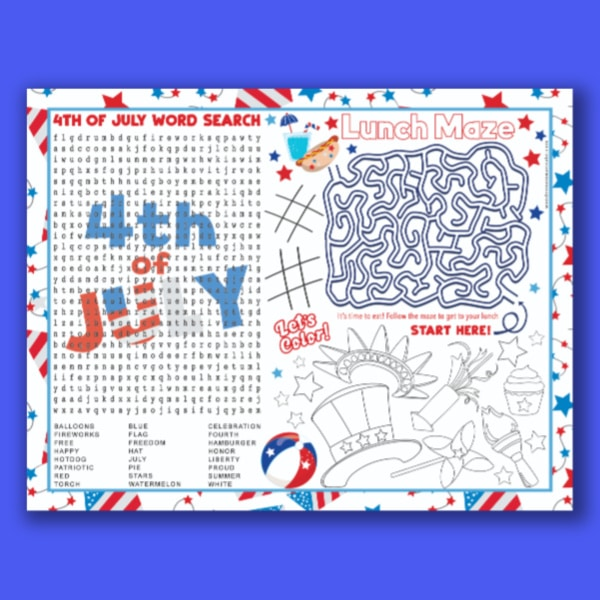 free 4th of july placemat for kids