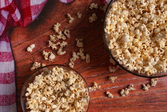 movie night popcorn in bowls