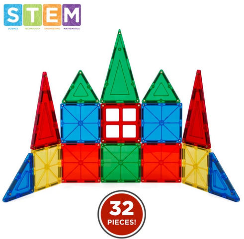 32-Piece Kids Magnetic Building Tiles Toy Set w/ Carrying Case