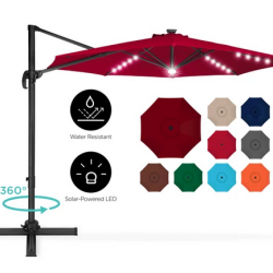 360-Degree LED Cantilever Offset Patio Umbrella w/ Tilt