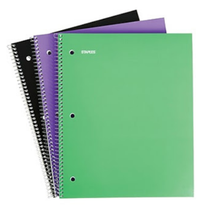 Staples 1 Subject Notebook, 3/Pack
