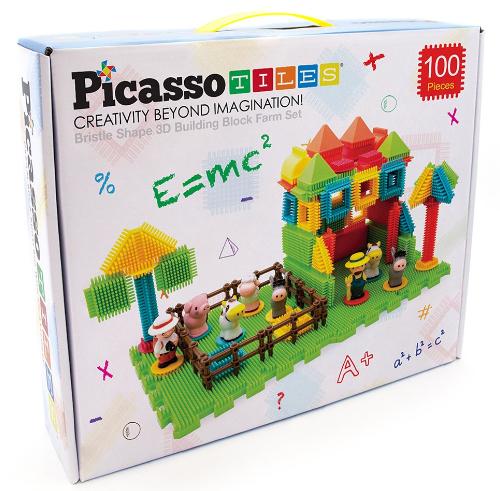 PicassoTiles 100-Piece Farm Bristle Block Set