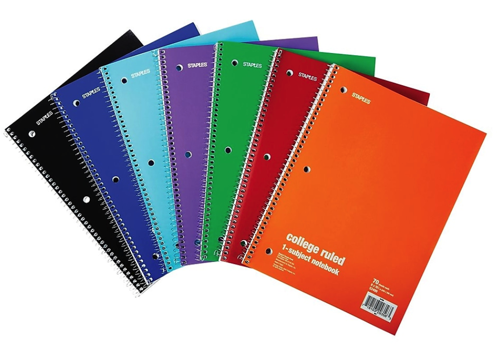 Staples One Subject Notebooks