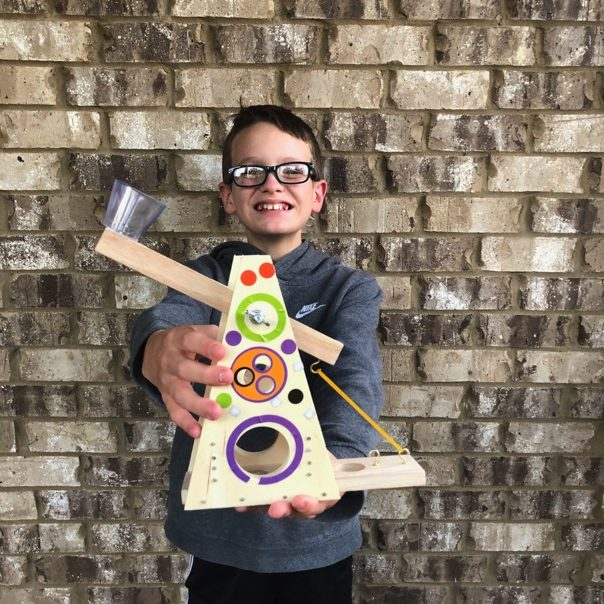 Silas with young woodworkers kit club craft