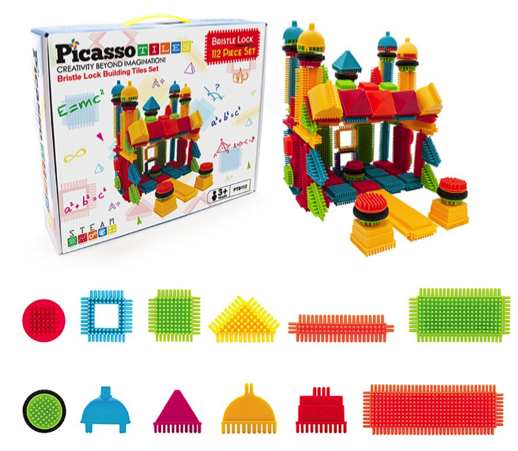 PicassoTiles Bristle Shaped Blocks Set
