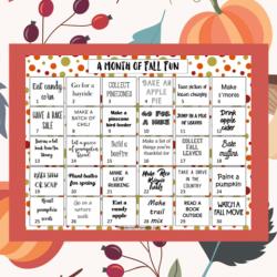 Free Printable Fall Fun Calendar