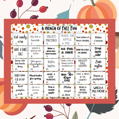 Free Printable Fall Fun Calendar