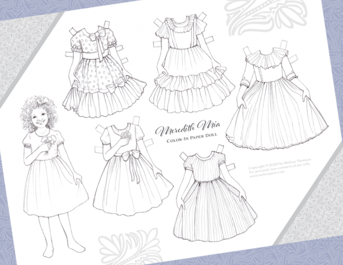 Free Printable Color In Paper Doll With Dresses Money Saving Mom Money Saving Mom