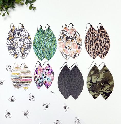 Genuine Leather Petal Earrings
