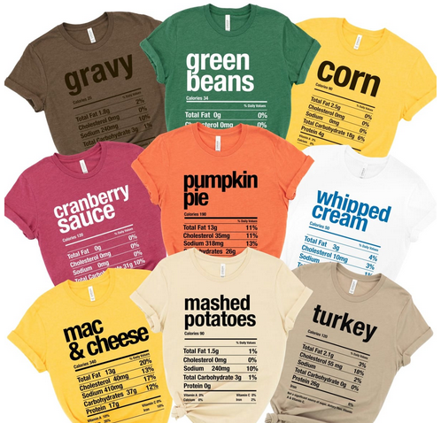 Thanksgiving Nutrition Matching Tees